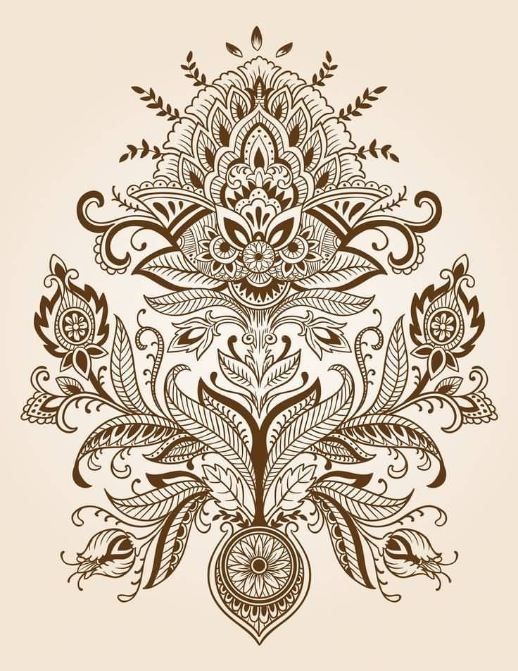 Nice Stencil Of Amazing Paisley Pattern Tattoo Design