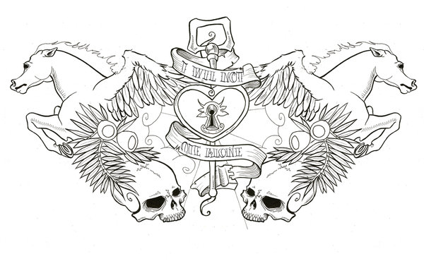 Nice Stencil Of Amazing Pegasus And Skull Tattoo Design