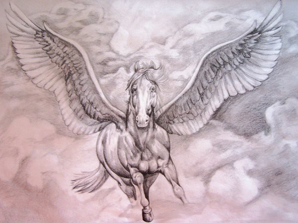 Nice Stencil Of Amazing Pegasus Tattoo Design Idea