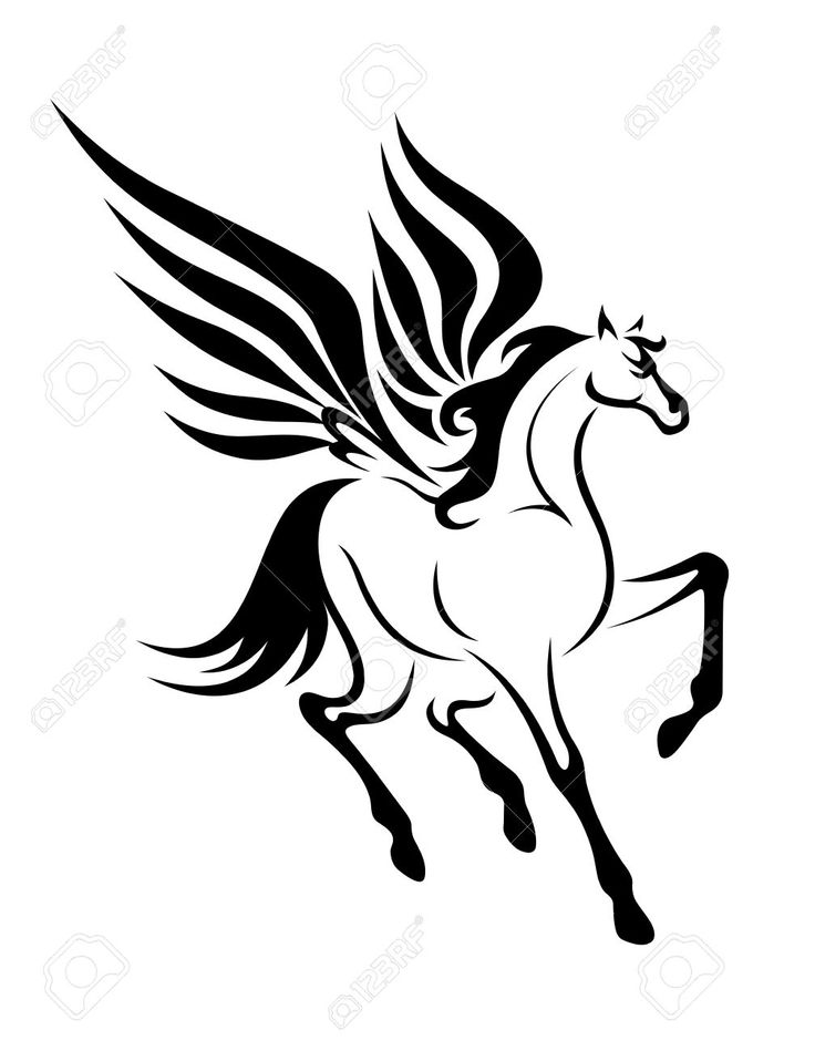 Black pegasus horse with wings for tattoo. Vector illustration