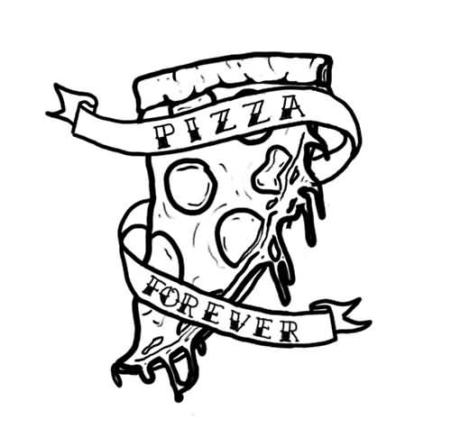 Nice Stencil Of Amazing Pizza Tattoo