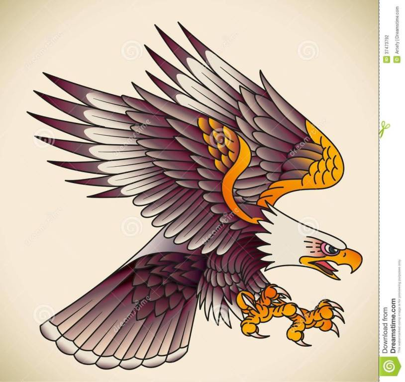 Nice Stencil Of Angry Old School Eagle Tattoo