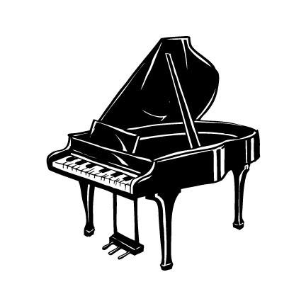 Nice Stencil Of Awesome Black Ink Grand Piano Tattoo