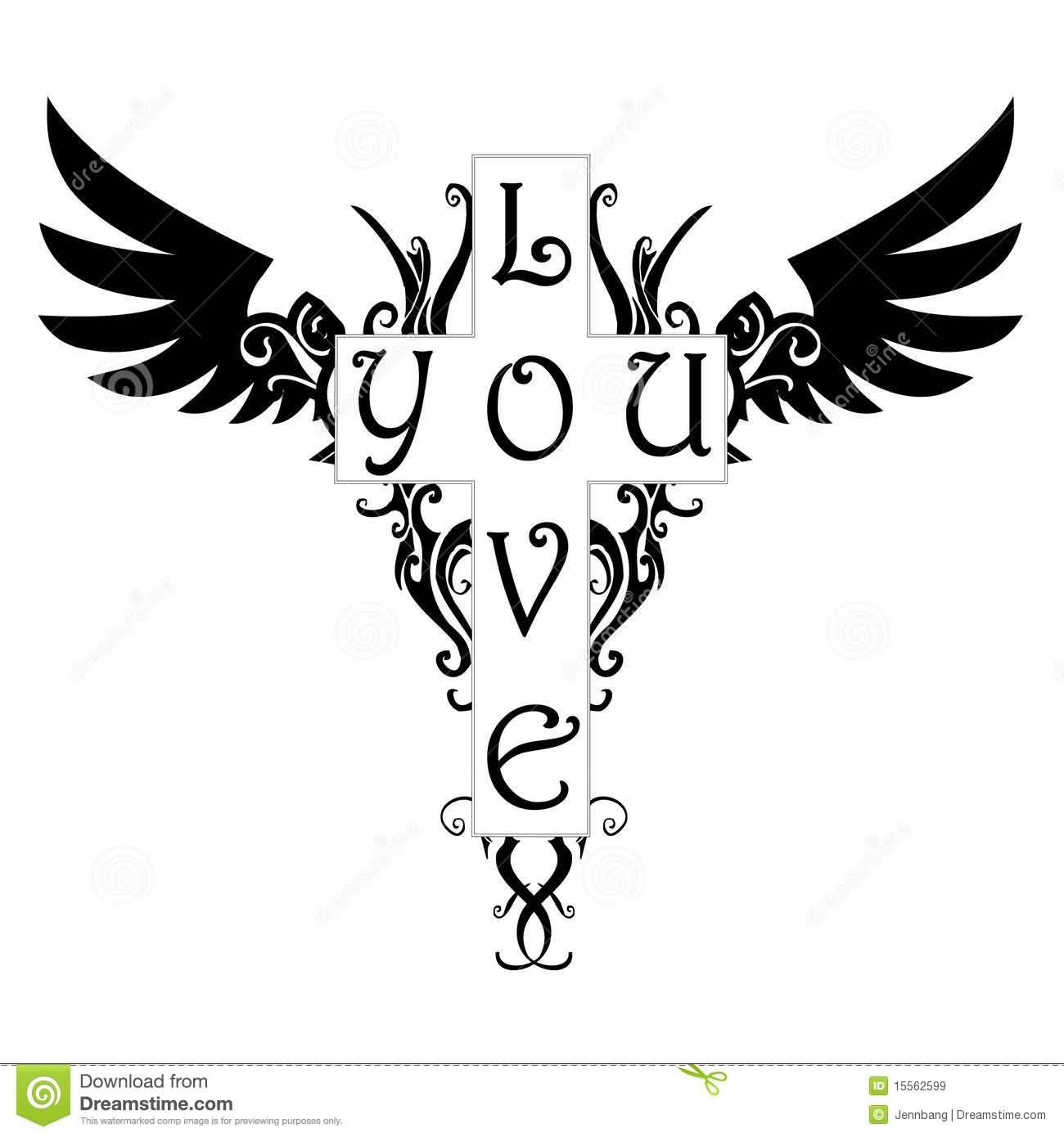 Nice Stencil Of Black Love You Cross Angel Wings Tattoo