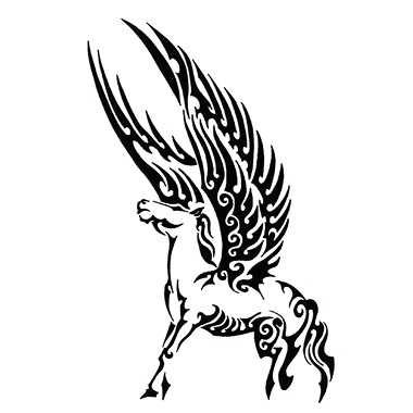 Nice Stencil Of Black Wings Tribal Pegasus Tattoo