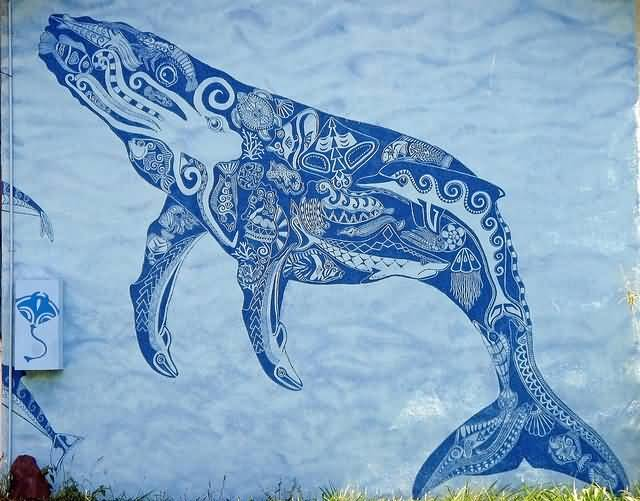 Nice Stencil Of Blue Sea Creature Whale Tattoo