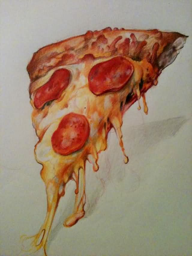 Nice Stencil Of Famous And Yummy Pizza Tattoo