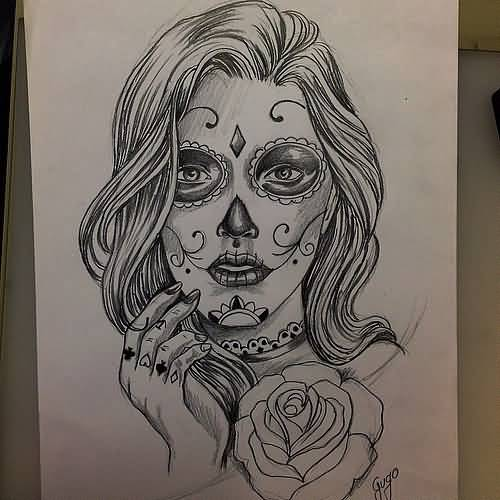 Nice Stencil Of Famous Catrina Girl Face Tattoo