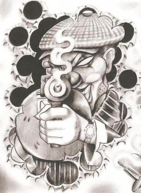 Nice Stencil Of Gangsta Clown Tattoo (2)