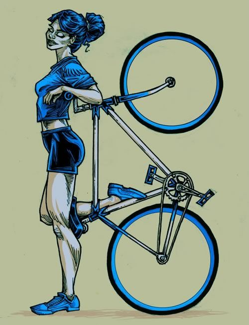 Nice Stencil Of Girl And Racing Bicycle Tattoo Idea