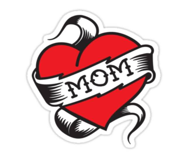 Nice Stencil Of Mom Love Heart Tattoo