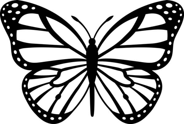 Nice Stencil Of Monarch Butterfly Tattoo