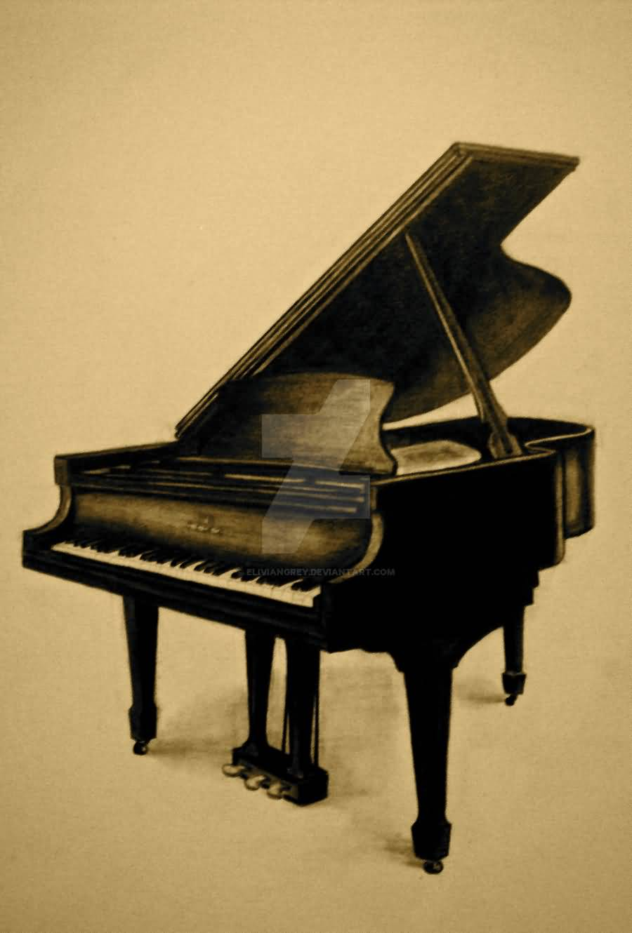 Nice Stencil Of Old Grand Piano Tattoo Design