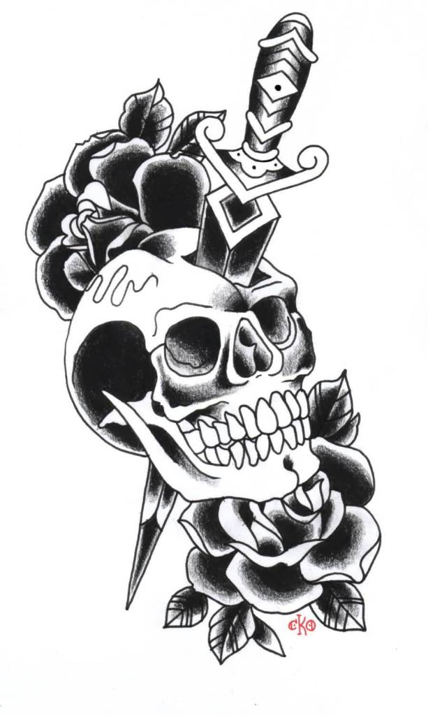 Nice Stencil Of Old School Dagger In Skull Tattoo With Rose