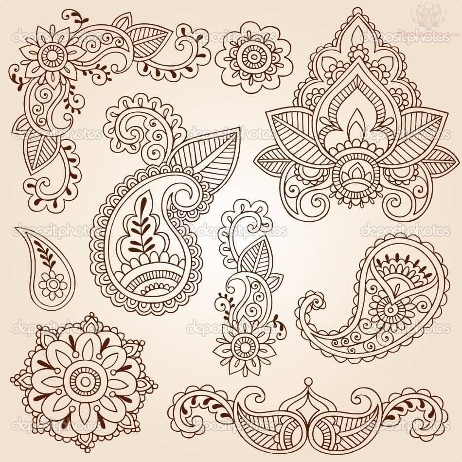 Nice Stencil Of Paisley Pattern Tattoo Design