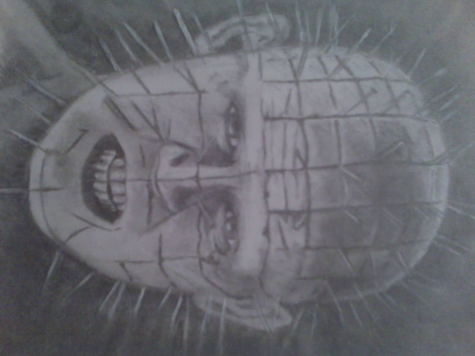 Nice Stencil Of Pinhead Tattoo Design Idea
