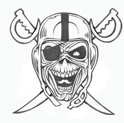 Nice Stencil Of Scary Oakland Raiders Tattoo