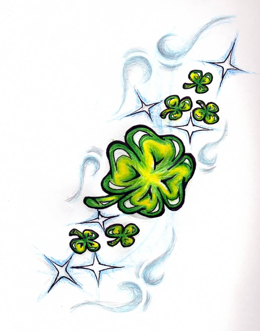 Nice Stencil Of Shamrock Tattoo Design Idea