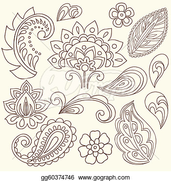 Nice Stencil Of Simple Paisley Pattern Tattoo