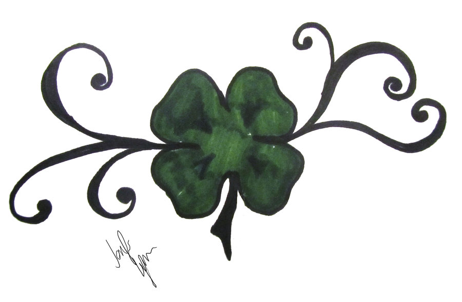 Nice Stencil Of Simple Shamrock Tattoo