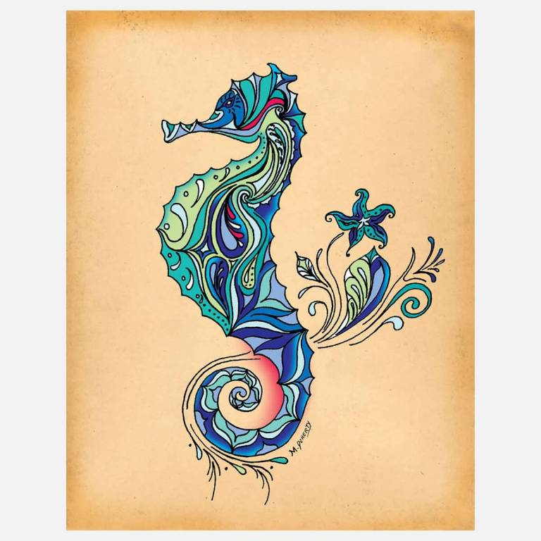 Nice Stencil Sea Horse Tattoo