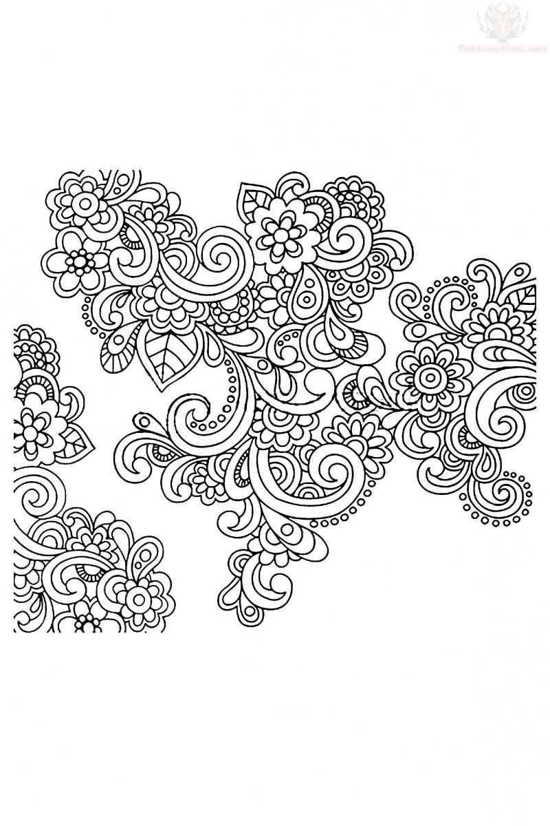 Nice Stencil With Amazing Paisley Pattern Tattoo Design