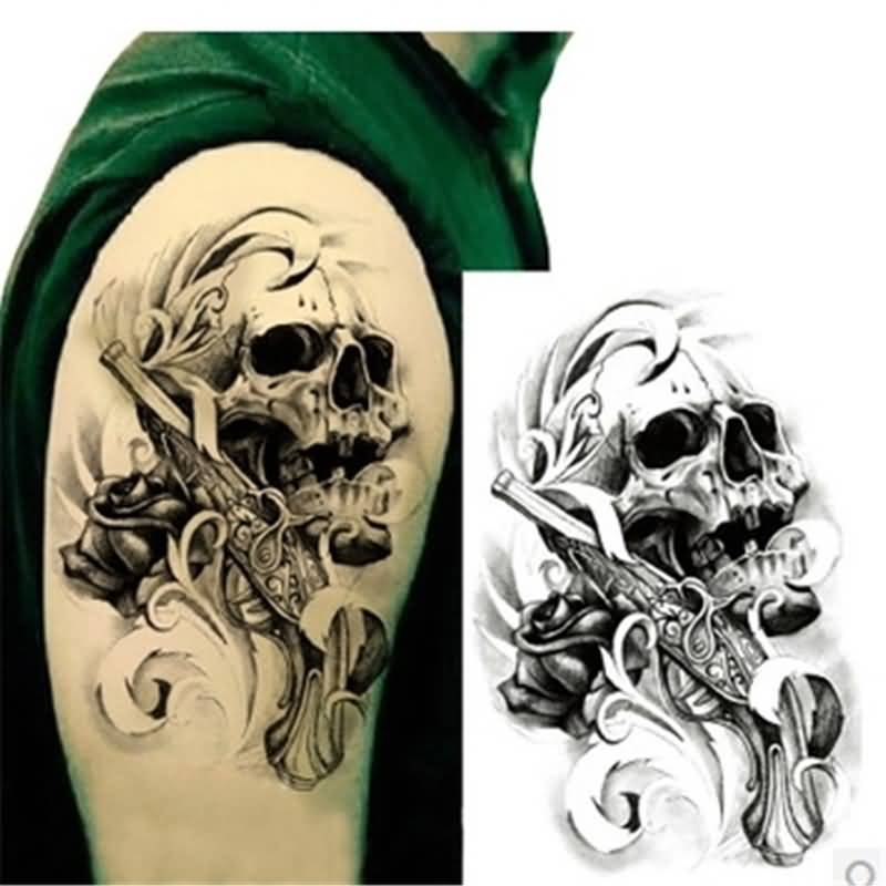 Nice Stencil With Men Shoulder Punk Skull Tattoo