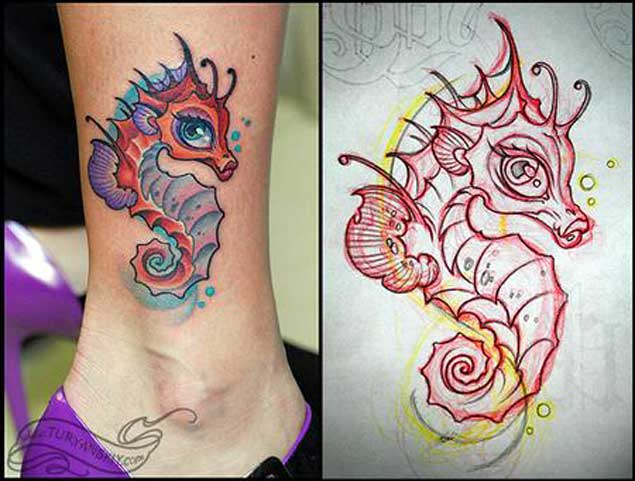 Nice Stencil With Seahorse Tattoo On Girl Ankle