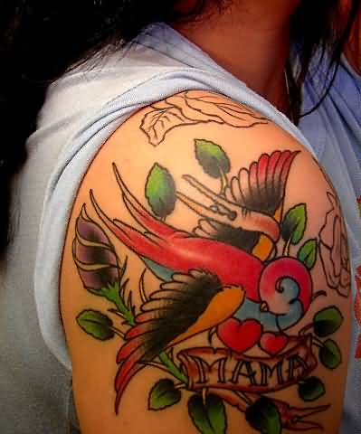 Nice Swallow Flower Nice Mama Banner Tattoo On Shoulder