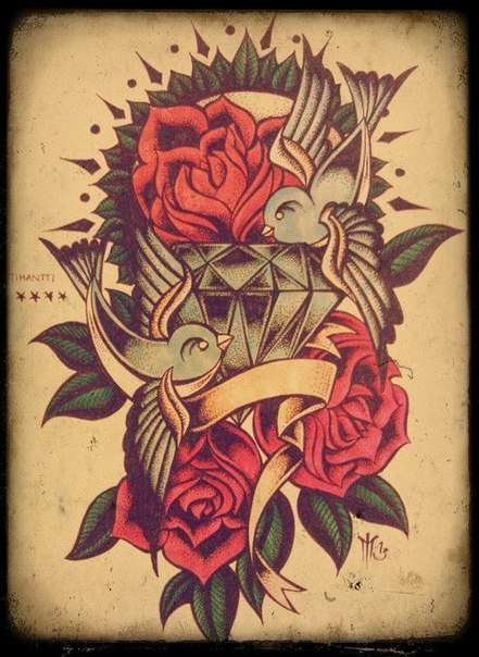 Nice Swallows With Nice Old School Roses And Diamond Tattoo