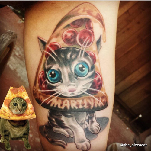 Nice Sweet Cat Pizza Tattoo