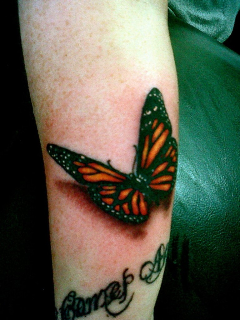 Nice Text And Amzzing Monarch Butterfly Tattoo On Leg