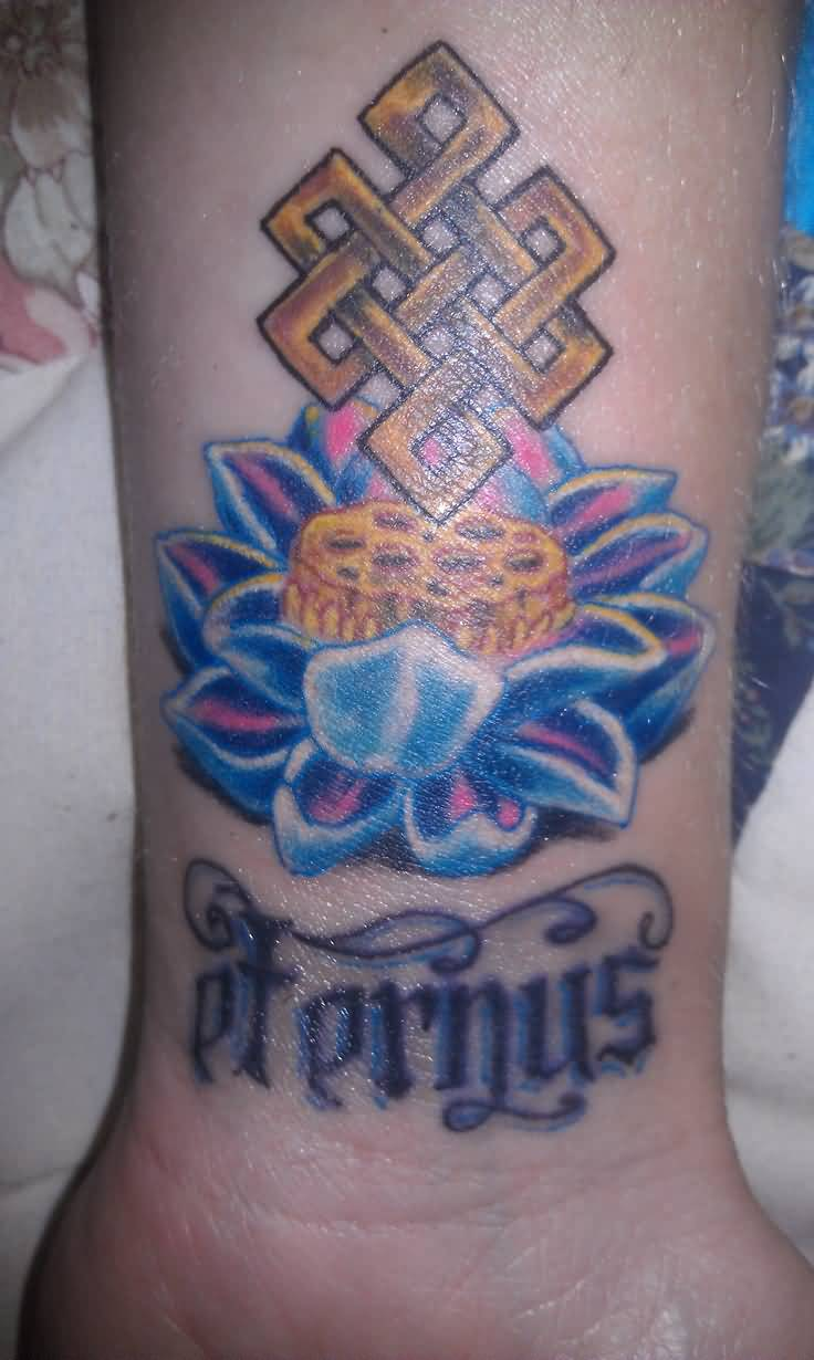 Nice Text With Blue Awesome Lotus Flower With Endless Knot Tattoo On Wrist
