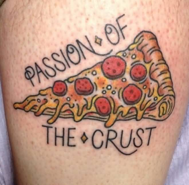 Nice Text With Yummy Pizza Tattoo