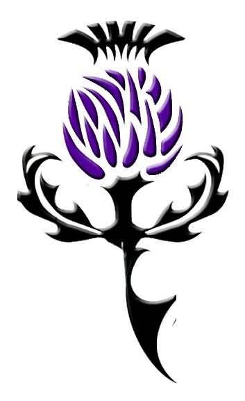 Nice Thistle Scottish Tattoo Made By Purple And Black Ink
