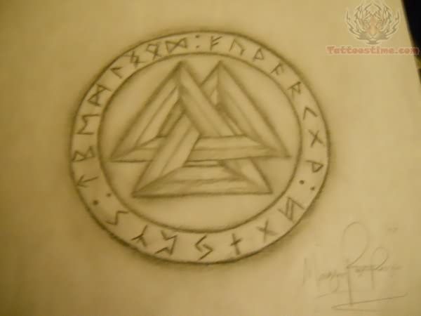 Nice Three Pagan Triangle Tattoo Stencil