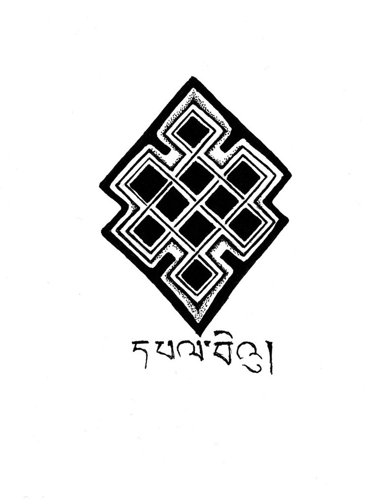 Nice Tibetan Letters with Nice Black Ink Endless Knot Tattoo