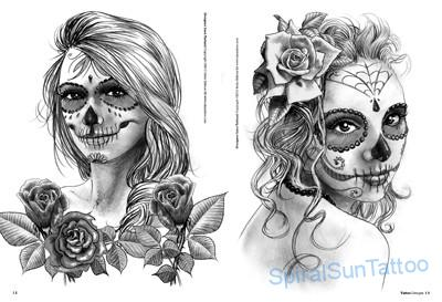 Nice Tow Awesome Hot Catrina Tattoo Stencil