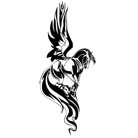 Nice Tribal Black Ink Pegasus Tattoo Design Stencil