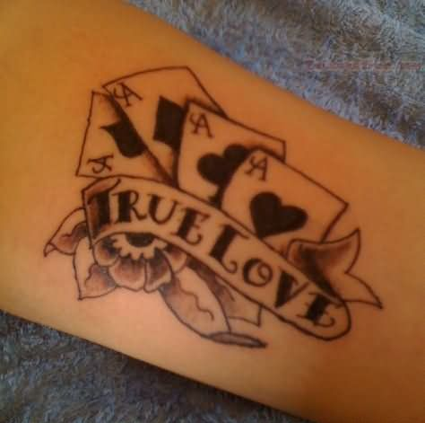 Nice True Love Banner With Cards Tattoo