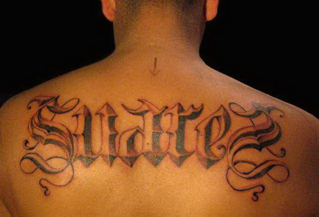 Nice Upper Back Latino Letters Tattoo Design Idea