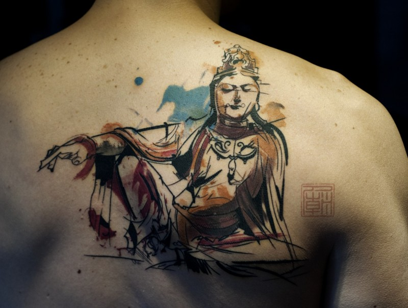 Nice Upper Back Scarification Buddha Tattoo Idea
