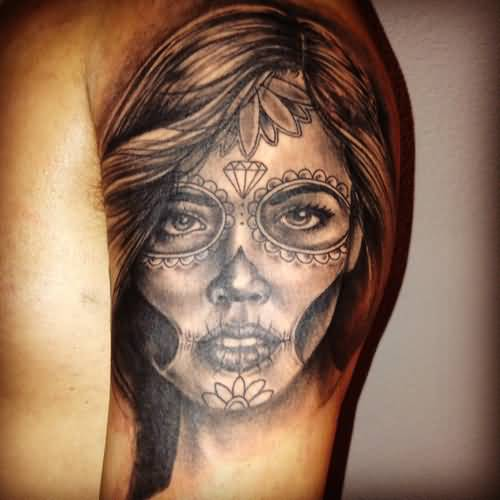 Nice Upper Sleeve Nice Girl Catrina Tattoo Of Face