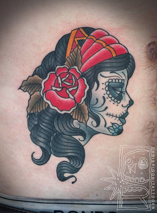 Nice Vintage Face Of Catrina Tattoo