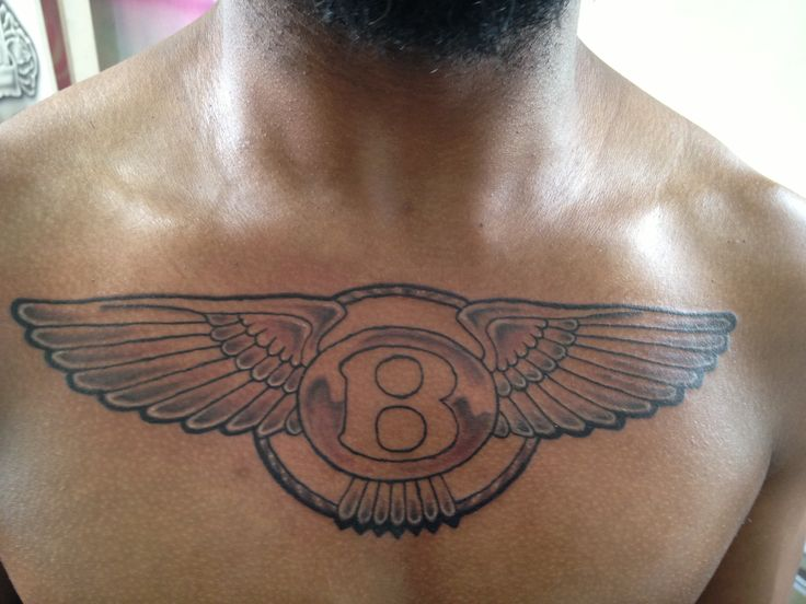 Nice Wings Amazing Bentley Logo Tattoo On Chest Of Men