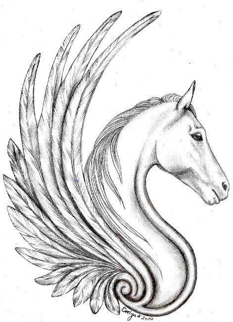 Nice Wings Pegasus Tattoo Design Idea Stencil