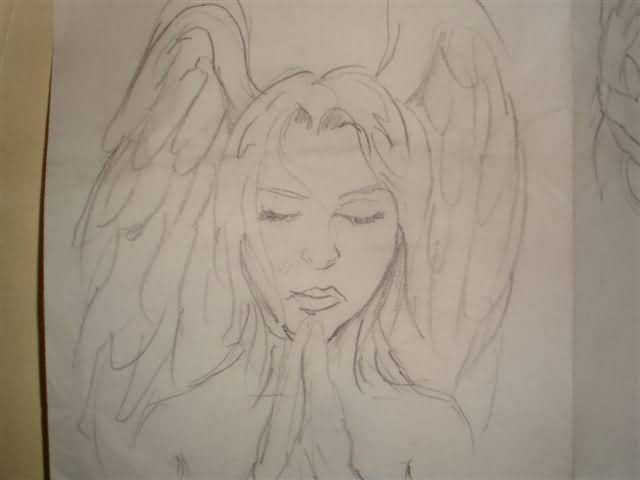 Nice Wings Praying Angel Tattoo Design IDea On Paper