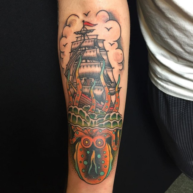 Octopus Pirate Ship Tattoo On Lower Sleeve