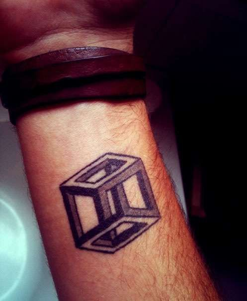 Old Escher Cube Tattoo On Wrist