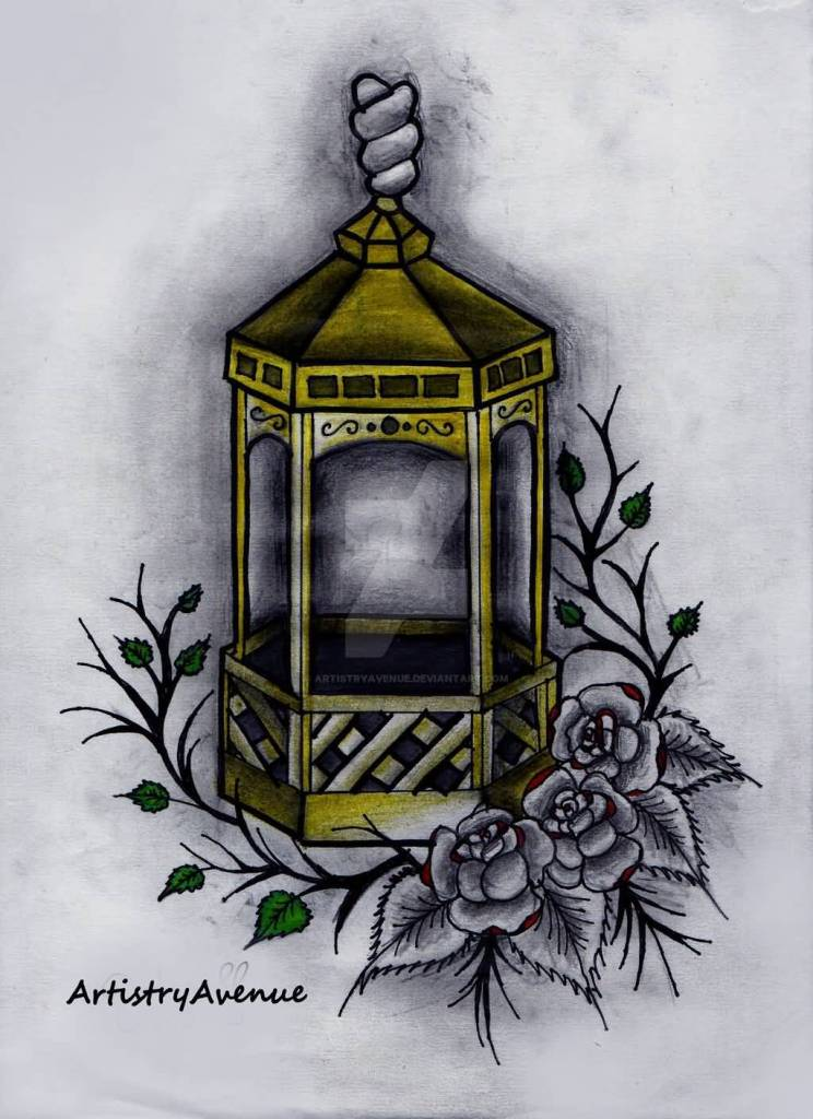 Old Lantern With Flower Tattoo Design